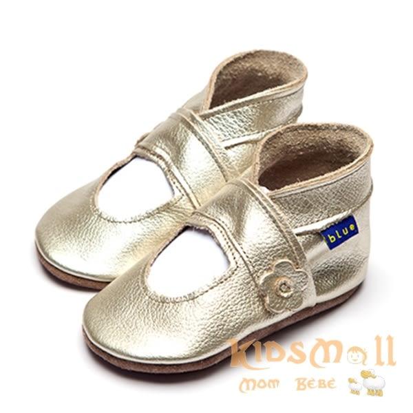 英國製Inch Blue,真皮手工學步鞋禮盒,Mary Jane-Metalic Gold