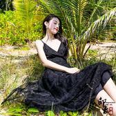 定制走秀款黑天鵝超仙吊帶漏美背紗度假連身裙顯瘦黑色長裙【萬聖節推薦】