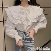 襯衫女2021早春新款復古荷葉邊娃娃領氣質襯衣百搭單排扣長袖上衣