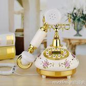田園仿古電話機家用臥室歐式電話復古電話機彩繪陶瓷白色客廳座機QM 美芭