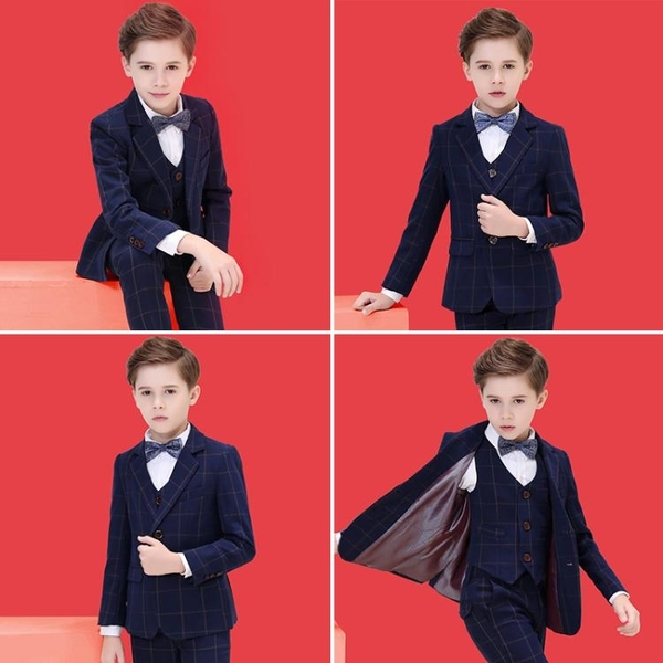 兒童西裝套裝男童花童禮服韓版小西服三件套鋼琴演出禮服外套帥氣