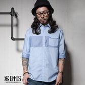 【BTIS】七分袖 拼接襯衫 / 藍色