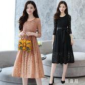 蕾絲洋裝連身裙女秋裝新款收腰顯瘦純色圓領長袖系帶長裙打底 QG16598『優童屋』