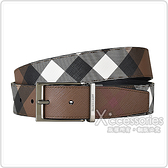 BURBERRY銀字壓印LOGO雙面設計格紋環保帆布/牛皮針扣式皮帶(深樺木棕x黑)
