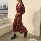 紅色雪紡洋裝女長袖韓版V領復古碎花裙學生打底中長款裙子『夢娜麗莎』