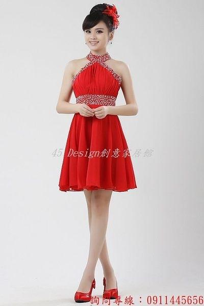 (45 Design)   客製7到貨婚紗禮服短款紅色婚禮新娘敬酒服伴娘結婚晚禮服掛脖韓版   紅