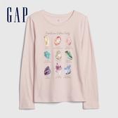 Gap女童 童趣風格閃亮印花長袖T恤 600472-淡粉色