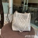 編織包 夏天仙女包包新款韓版草編蕾絲側背包手提包大容量水桶購物袋 格蘭小舖 全館5折起