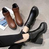女鞋單靴圓頭高跟復古馬丁靴女英倫粗跟短靴新款【好康回饋◇85折】