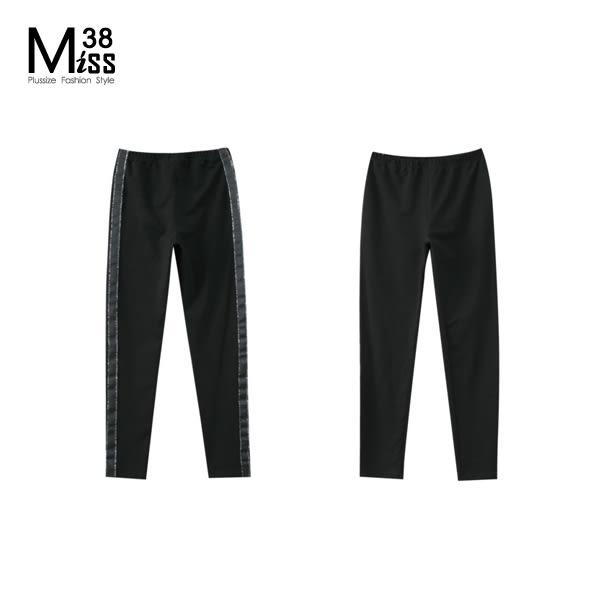 Miss38-(現貨)【A07429】大尺碼內搭褲 黑色打底長褲 側邊織帶 純棉彈力(薄款) legging-中大尺碼女裝