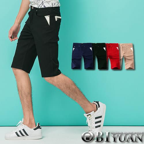 出清不退換 短褲【P1826】OBI YUAN專櫃厚磅皮革拼接彈性工作短褲