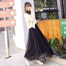 網紗裙 (不好不要錢)網紗裙秋冬半身裙長裙高腰a字裙超仙女裙子中長款 歐歐