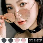 OT SHOP太陽眼鏡‧韓系復古時尚金屬圓框顯小臉抗UV400墨鏡‧金框全黑/玫瑰金‧現貨兩色‧U21