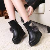 33-34 小碼女鞋 秋冬季內增高厚底短靴加絨松糕鞋子大碼