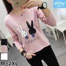 【V2682】shiny藍格子-俏麗可愛.兔子字母印花圓領長袖上衣