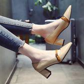 【618好康鉅惠】單鞋女2018新款春季百搭韓版粗跟套腳高跟鞋