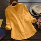 現貨-棉麻上衣爆款女裝上衣亞馬遜新款棉麻素色長袖大碼休閒寬鬆襯衫新品4-15