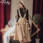 裙子 露比設計‧開衩魚尾後鬆緊吊帶長裙-Ruby s 露比午茶
