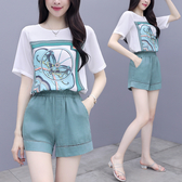 VK精品服飾 韓系圖騰寬鬆雪紡上衣休閒褲時尚套裝短袖褲裝