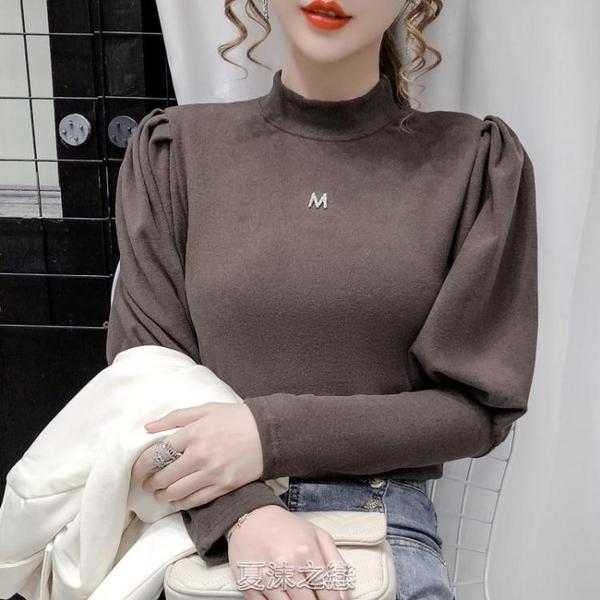 秋冬新款加厚雙面磨毛德絨打底衫女修身內搭泡泡袖半高領上衣 【新年禮物】