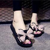 涼拖鞋室內居家蝴蝶結厚底外穿涼拖鞋【百搭潮品】