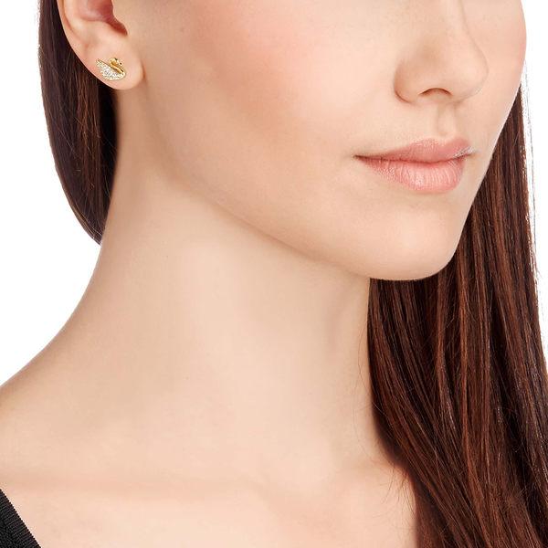 施華洛世奇 Swan 經典鍍金天鵝水晶耳環