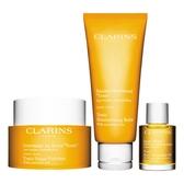 CLARINS 芳香調和身體去角質霜 250g+芳香調和身體乳 200ml+身體調和護理油 30ml