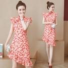 夏新式旗袍年輕款改良旗袍洋裝 紅色民國中式復古少女中國風性感連身裙 JX519『Bad boy時尚』