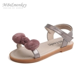 mbmonkey女童涼鞋 2020新款蝴蝶結軟底露趾涼鞋粉色兒童公主鞋潮 滿天星
