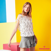 【SHOWCASE】俏麗細格紋雙層斜荷葉襬A字短裙(黑)
