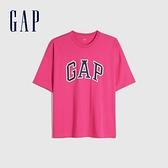Gap男女同款 Logo純棉圓領短袖T恤 688537-玫紅色