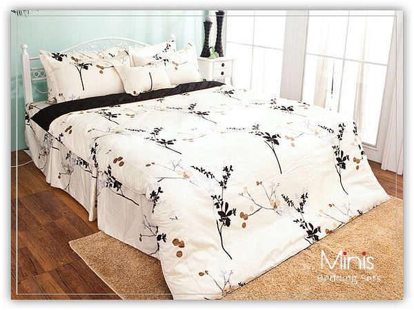 MiNiS 雙人5尺床罩七件組 墨月繁花 100%精梳棉 台灣製 百貨專櫃下單同步開賣