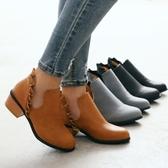 【35-41全尺碼】靴子.歐美流行側V口荷葉邊短靴.白鳥麗子