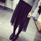 蕾絲裙(長裙)-高腰百褶鏤空半身女裙子2色73x26【巴黎精品】