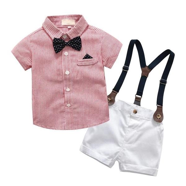 兒童夏季襯衫套裝男童英倫風領結禮服寶寶周歲抓周服紳士背帶褲潮
