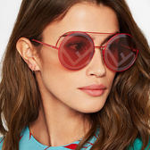 FENDI 太陽眼鏡 FS0285S C9A0L (紅) 歐美熱銷時尚經典款 圓框墨鏡 # 金橘眼鏡