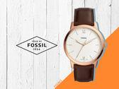 【時間道】FOSSIL經典簡約羅馬刻度薄型腕錶 /白面玫瑰金殼深棕皮帶 (FS5463)免運費