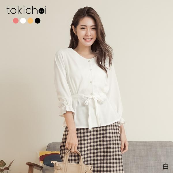 東京著衣-tokichoi-優雅恬美珍珠釦腰綁帶縮袖上衣(191493)