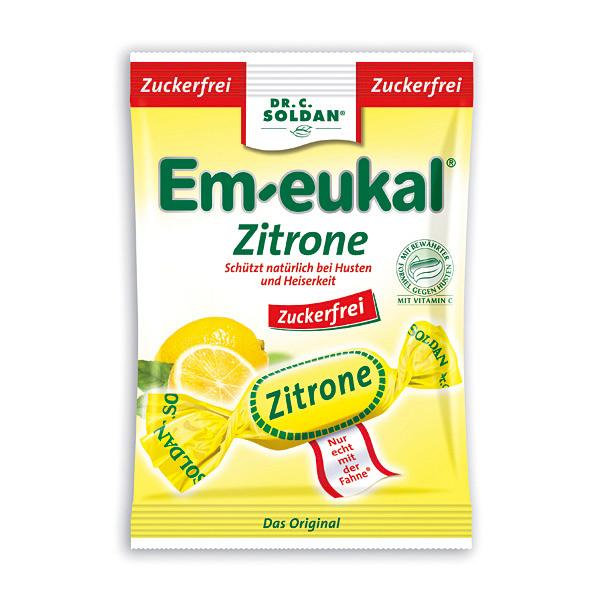 德國 索丹潤喉糖 無糖系列 檸檬糖 75G+東禾德國百靈油 5ml*2[美十樂藥妝保健]