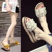 網紅涼拖鞋女外穿夏季2019新款厚底時尚百搭一字學生平底沙灘拖鞋-Ifashion
