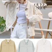 Queen Shop【02050242】雙口袋短版水洗外套 三色售*現+預*