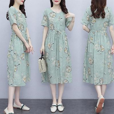 雪紡長洋裝M-3XL棉麻連身裙夏天薄款新款洋氣抽繩收腰顯瘦有口袋的印花長裙子NB13依佳衣