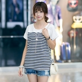 短袖針織衫-條紋時尚休閒寬鬆女T恤2色73hn74[時尚巴黎]