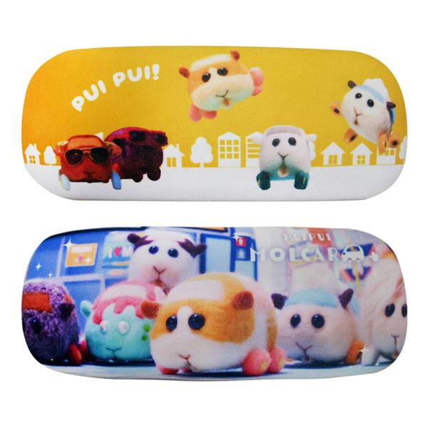 【日本正版】PUI PUI 天竺鼠車車 絨面 硬殼眼鏡盒 附拭鏡布 眼鏡收納盒 眼鏡盒 Molcar 519463 519470