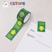 【ESTAPE】Sign here Memo貼紙|黃箭頭(註記/手帳/裝飾/便利貼/易撕貼/可書寫/重複黏貼)