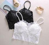 夏季女生蕾絲抹胸短款吊帶小背心防走光學生內衣2件裝LK1750『黑色妹妹』