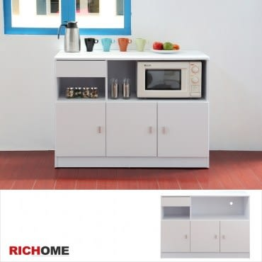 【RICHOME】米娜防潑水三門一抽廚房櫃-白色