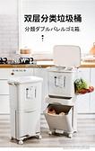 垃圾桶 日式垃圾分類垃圾桶家用大號廚房家庭雙層干濕分離廚余自動開蓋帶