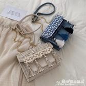 流蘇包 洋氣小包包女2020新款潮韓版百搭斜背包錬條包側背流蘇時尚小方包 愛麗絲