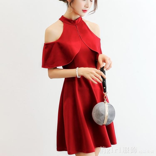 洋裝 2020夏女裝修身韓版袖顯瘦純色大碼時尚休閒連身裙女 俏girl